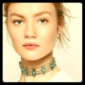 Free People six shooter choker turquoise and opal